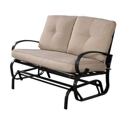 2-Person Steel Frame Glider Outdoor Patio Rocking Bench Loveseat with Light Grey Cushion