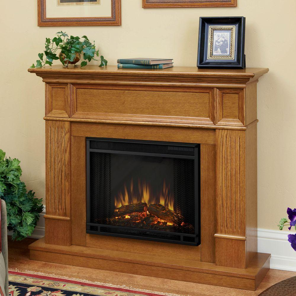 Real Flame Camden 45 in. Convertible Electric Fireplace in Light Oak