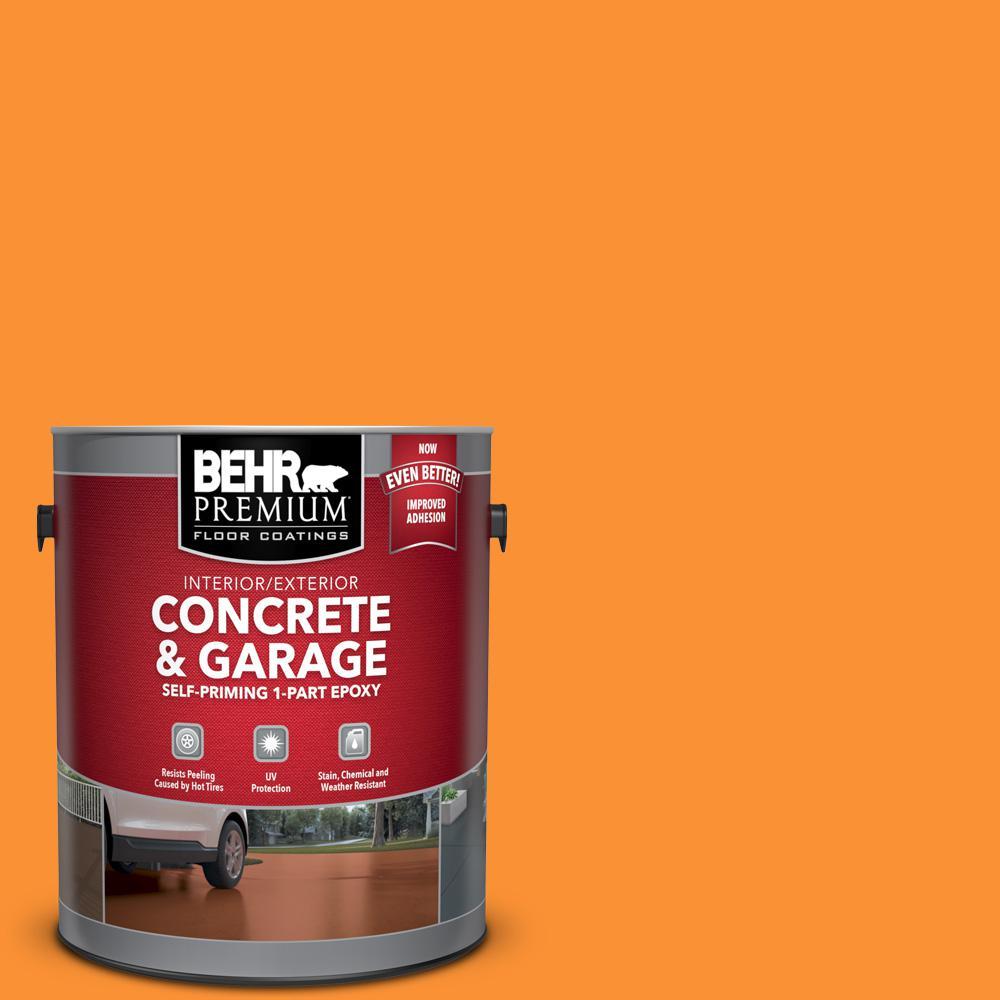 1 gal. #P240-7 Joyful Orange Self-Priming 1-Part Epoxy Satin Interior/Exterior Concrete and Garage Floor Paint