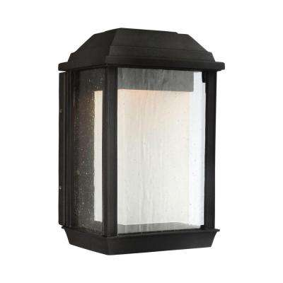 McHenry 1-Light Textured Black Outdoor Integrated LED Wall Mount Lantern Fixture