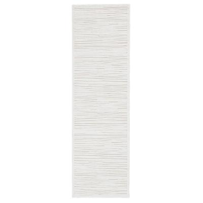 Machine Made Blanc De Blanc 3 ft. x 8 ft. Abstract Runner Rug