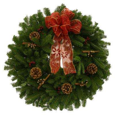 24 in. Balsam Fir Cinnamon Stick Fresh Wreath : Multiple Ship Weeks Available