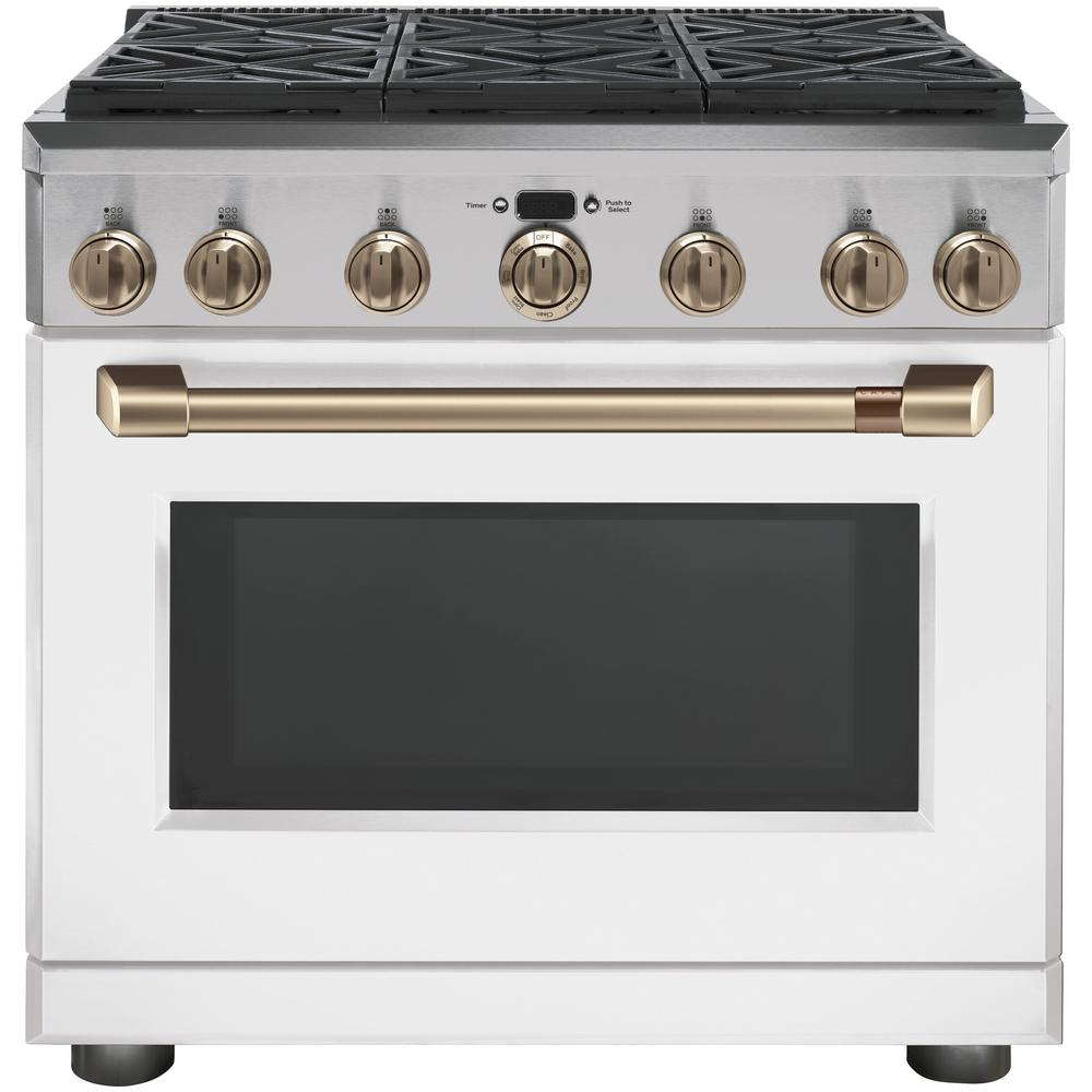 Cafe 36 in. 5.75 cu. ft. Dual Fuel Range with Self-Cleaning Convection Oven in Matte White, Fingerprint Resistant
