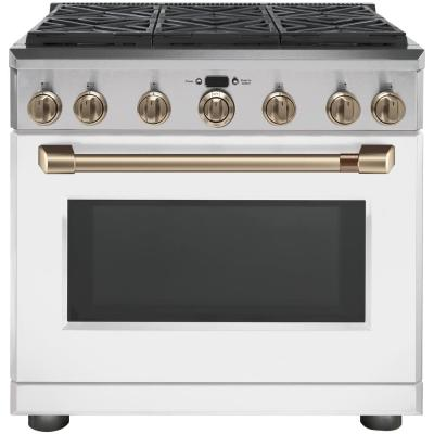 36 in. 5.75 cu. ft. Dual Fuel Range with Self-Cleaning Convection Oven in Matte White, Fingerprint Resistant