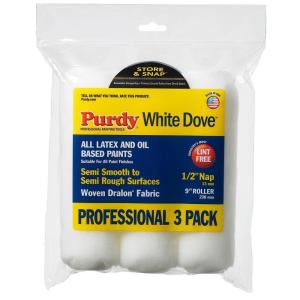 Purdy WhiteDove 9 inch x 1/2 inch Paint Roller Covers (3-Pack) by Purdy