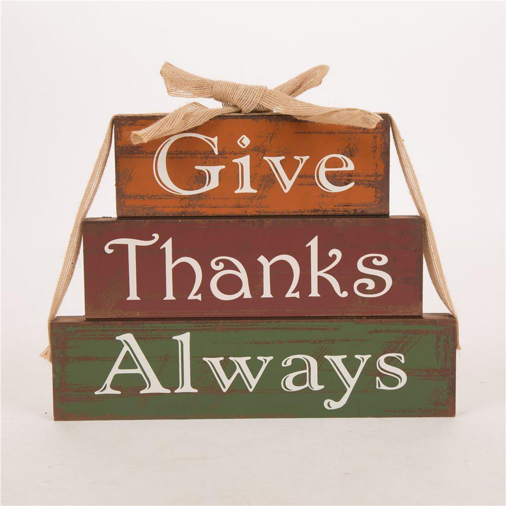 11.81 in. L Wooden Give Thanks Block Decor