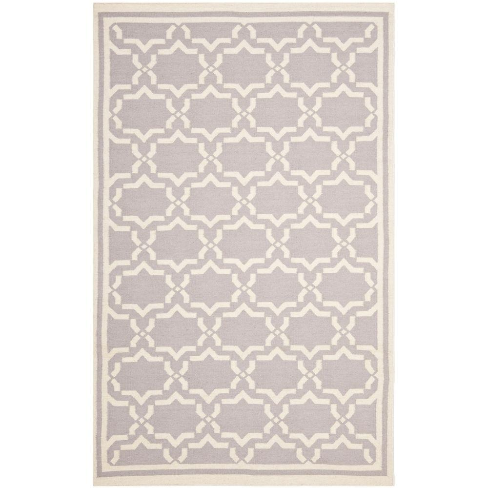 Safavieh Dhurries Grey/Ivory 9 ft. x 12 ft. Area Rug