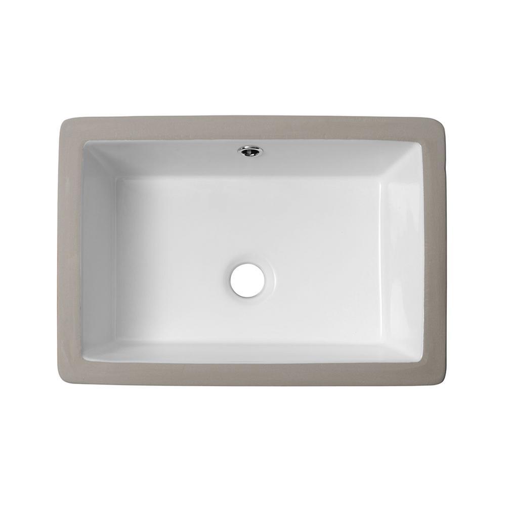 18 in. Undermount Rectangular Porcelain Ceramic Bathroom Sink in White