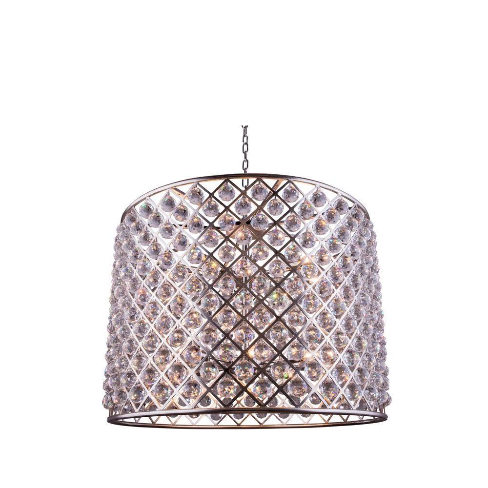 Elegant Lighting Madison 12-Light Polished Nickel Chandelier with Clear Crystal