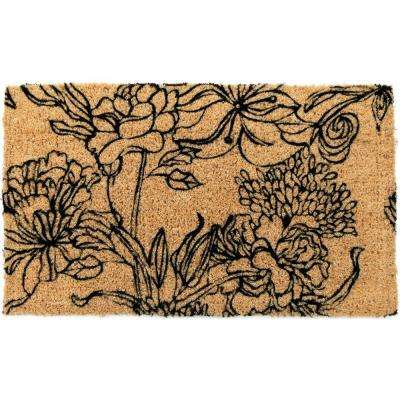 Ink Bouquet 18 in. x 30 in. Hand Woven Coir Door Mat