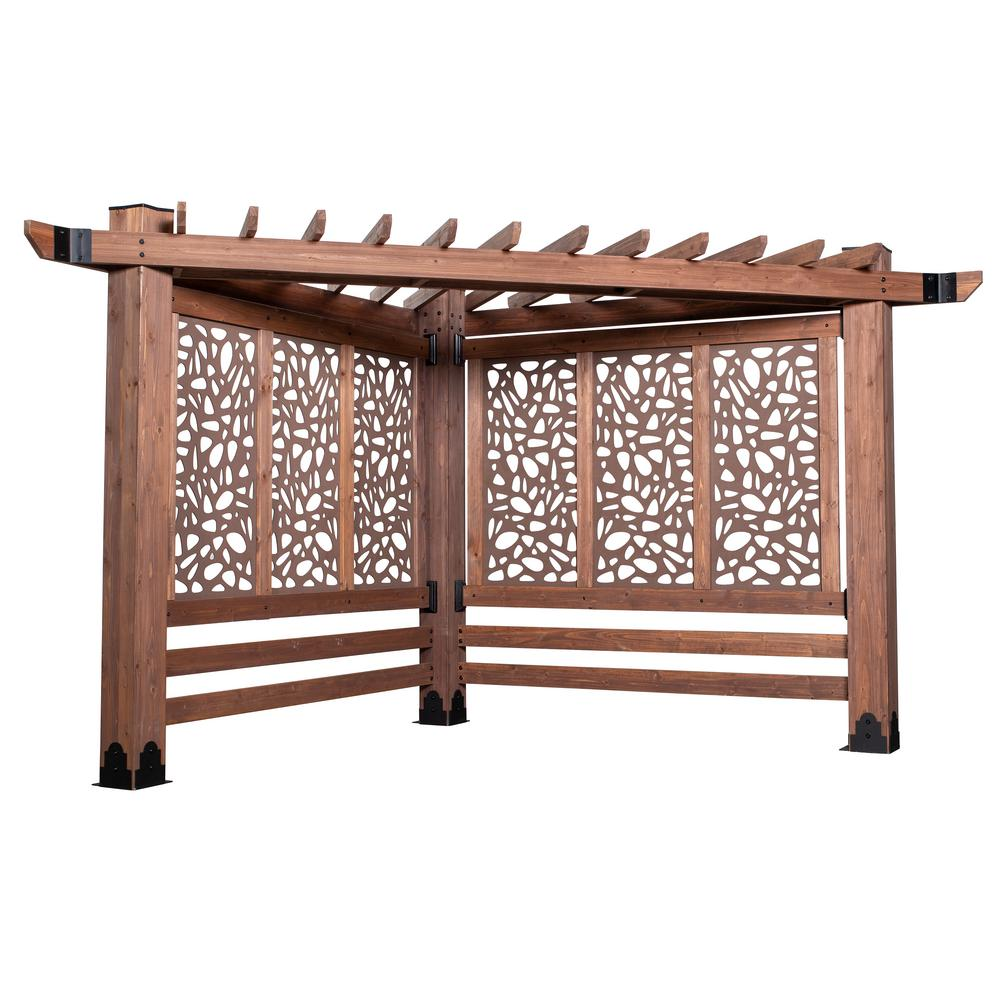 Backyard Discovery Haven 9 ft. x 12 ft. All Cedar Triangular Cabana Pergola with Pebble Privacy Panels