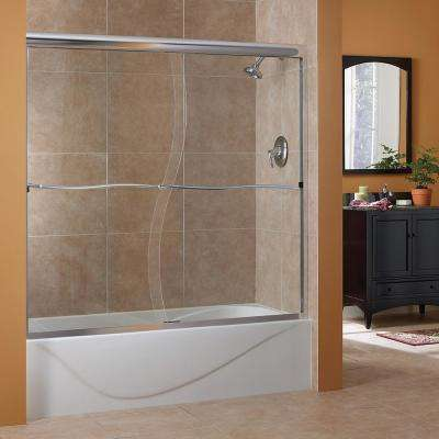 Cove 60 in. W x 60 in. H Frameless Sliding Tub Door in Silver
