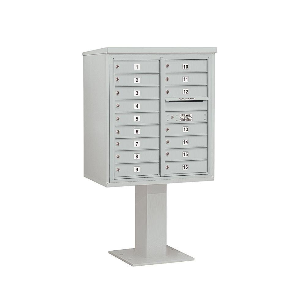 3400 Series 62-1/8 in. 9 Door High Unit Gray 4C Pedestal Mailbox with 16 MB1 Doors