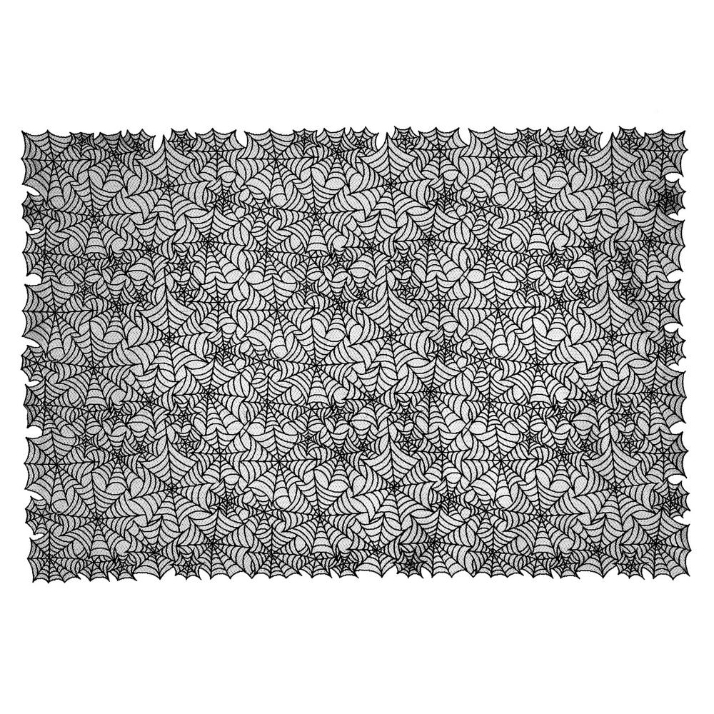 Heritage Lace Spider Web Rectangle Black Polyester Tablecloth