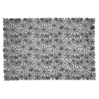 Spider Web Rectangle Black Polyester Tablecloth