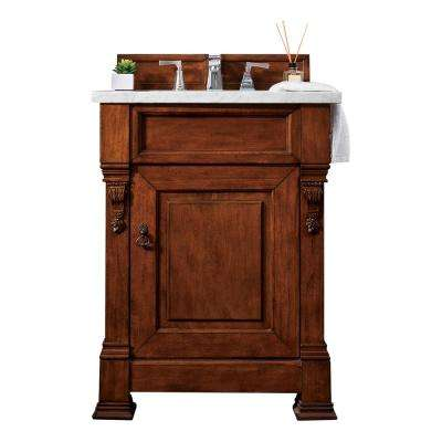Brookfield 26 in. W Single Bath Vanity in Warm Cherry with Marble Vanity Top in Carrara White with White Basin