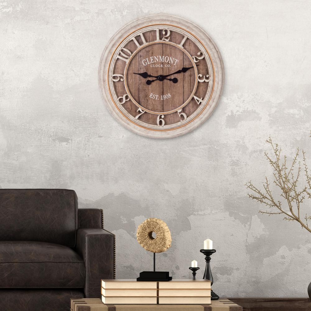 Wood Plank Glenmont Distressed Gray Wall Clock