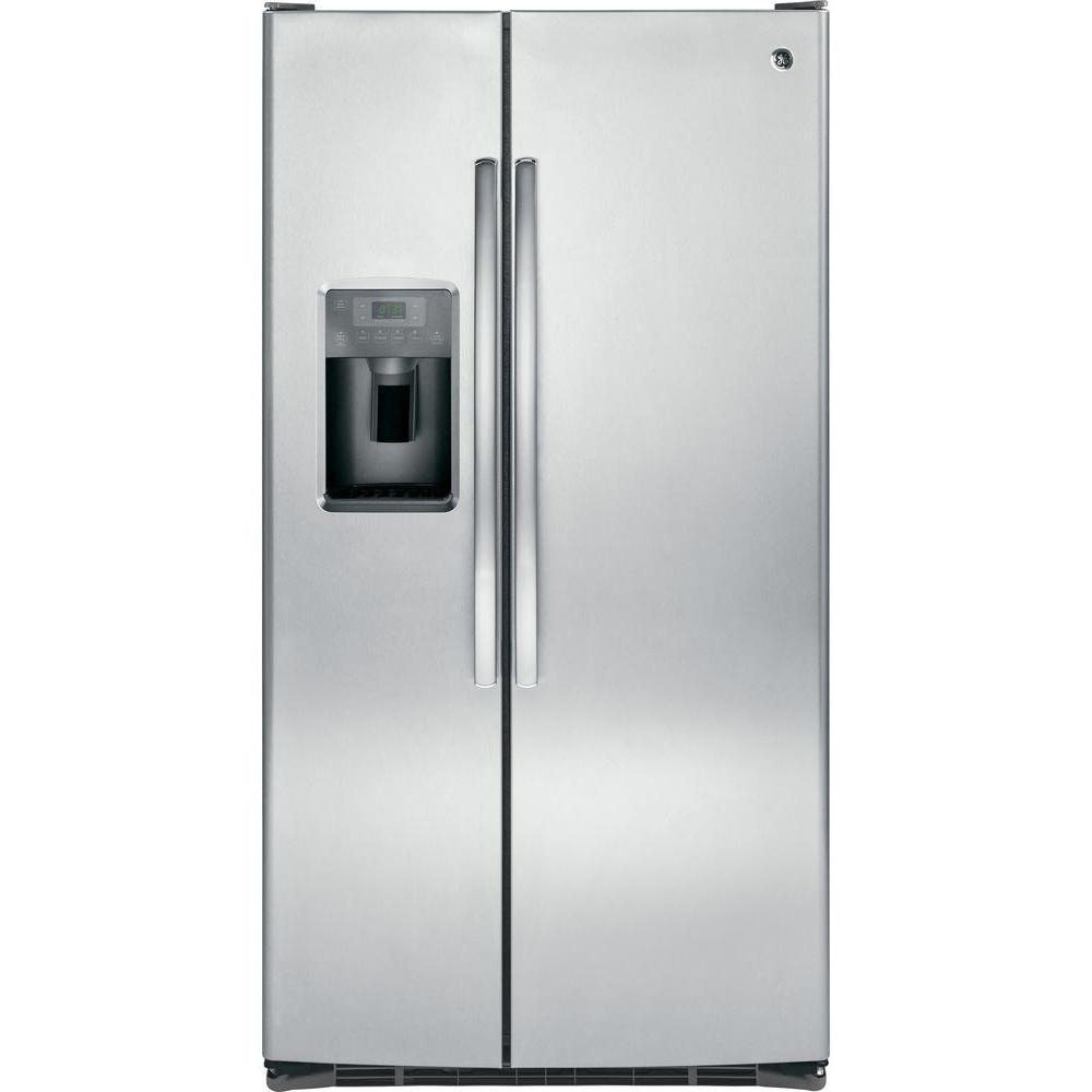 GE 36 in. W 25.4 cu. ft. Side by Side Refrigerator in White ...