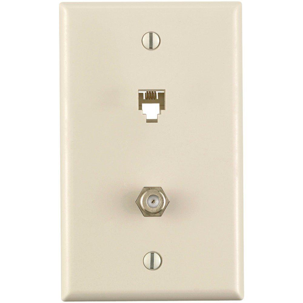 6P4C + F Connector Type 625D Wall Phone Jack, Light Almond
