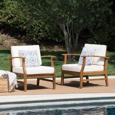 Teak Brown Acacia Wood Outdoor Lounge Chairs with Cream Cushion (2-Pack)