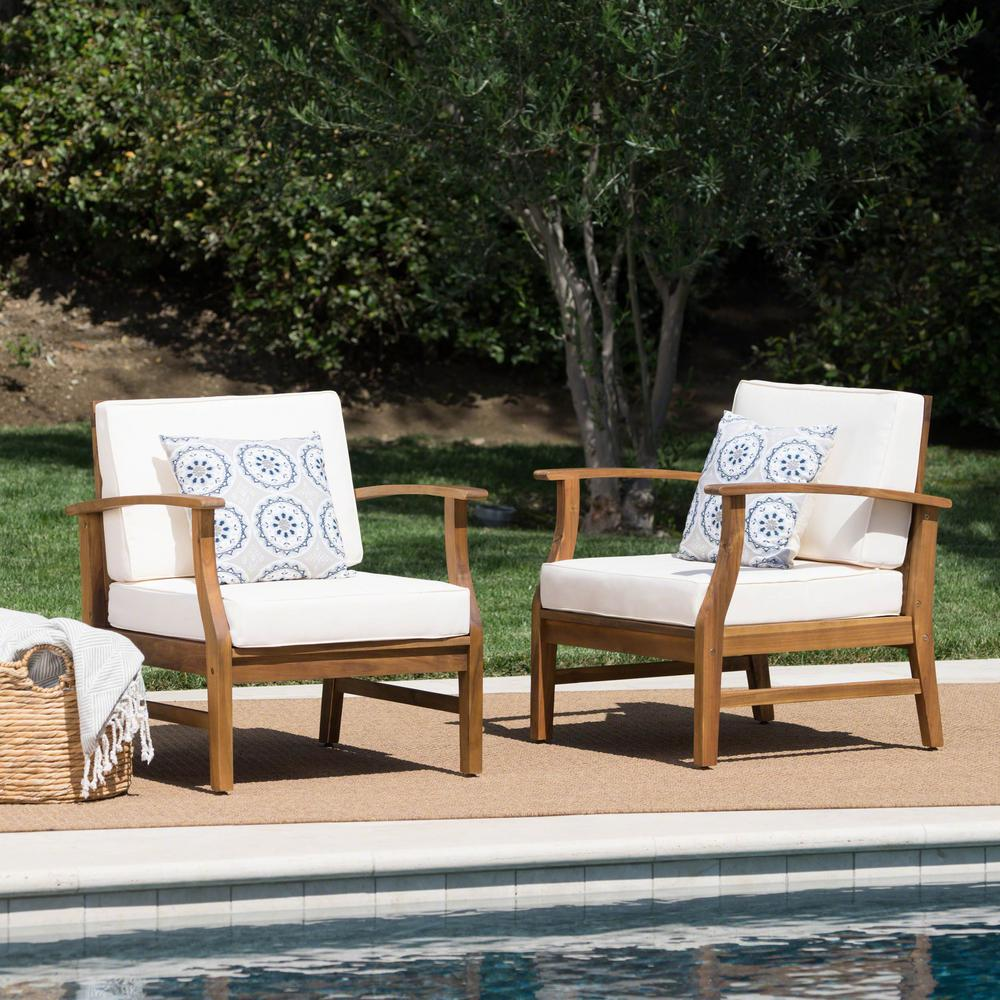 Noble House Teak Finish Wood Outdoor Lounge Chairs with Cream Cushion  (2-Pack)