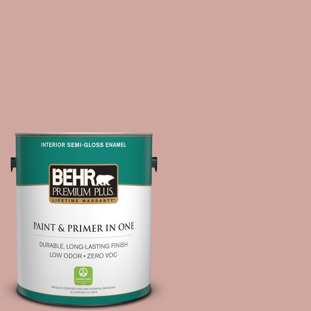 BEHR Premium Plus 1-gal. #200E-3 Cinnamon Cocoa Zero VOC Semi-Gloss Enamel Interior Paint