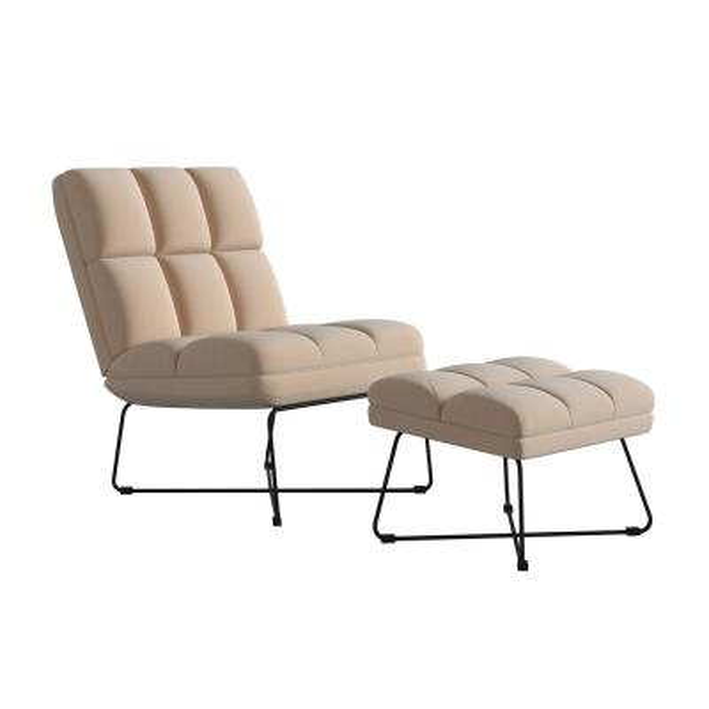 Wallis Nude Pink Velvet Modern Armless Chair and Ottoman Set
