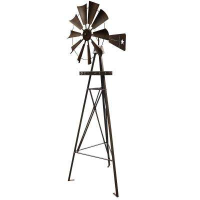 9 ft. Metal Tripod Rustic Star Backyard Lawn Windmill