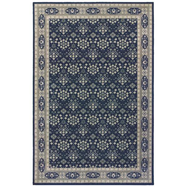 Unbranded Rydal Navy Grey 5 Ft X 8 Ft Border Area Rug 993470 The Home Depot