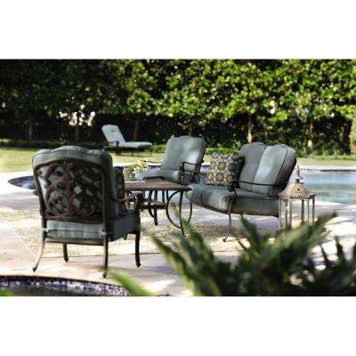 Madrid Bronze 6-Piece Patio Seating Set with Bermuda Blue Cushions