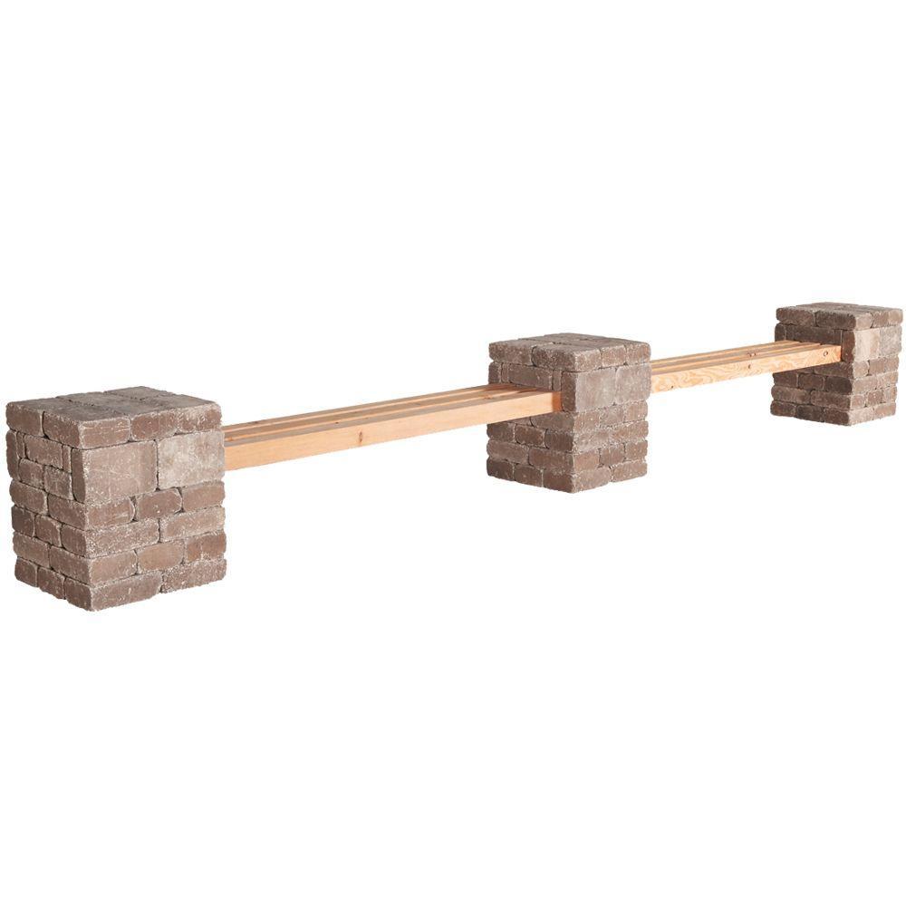 RumbleStone 179 in. x 24.5 in. x 21 in. Concrete Garden Bench Kit in Cafe