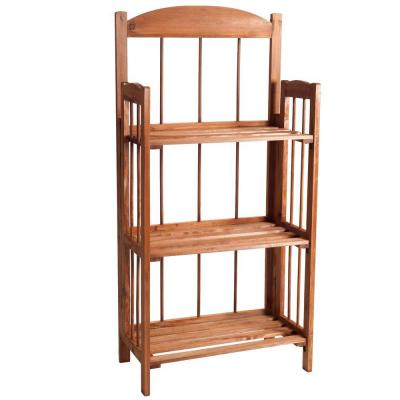 35.75 in. Brown Wood 3-shelf Etagere Bookcase with Open Back