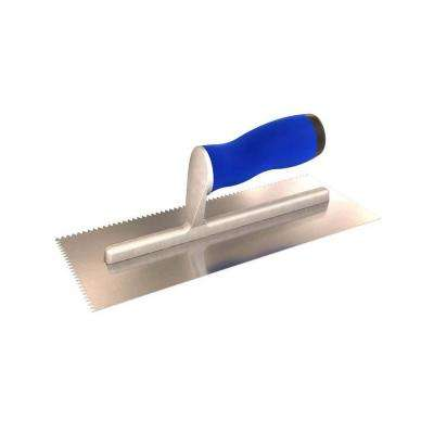 11 in. x 4-1/2 in. V-Notched Margin Trowel with Comfort Grip Handle 3/16 in. Notch Width 3/16 in. Notch Depth