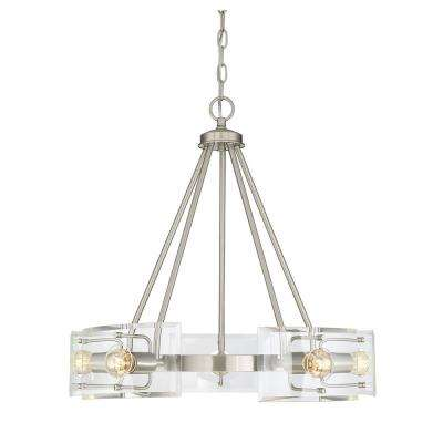 5-Light Satin Nickel Chandelier with Clear Curved Beveled Glass