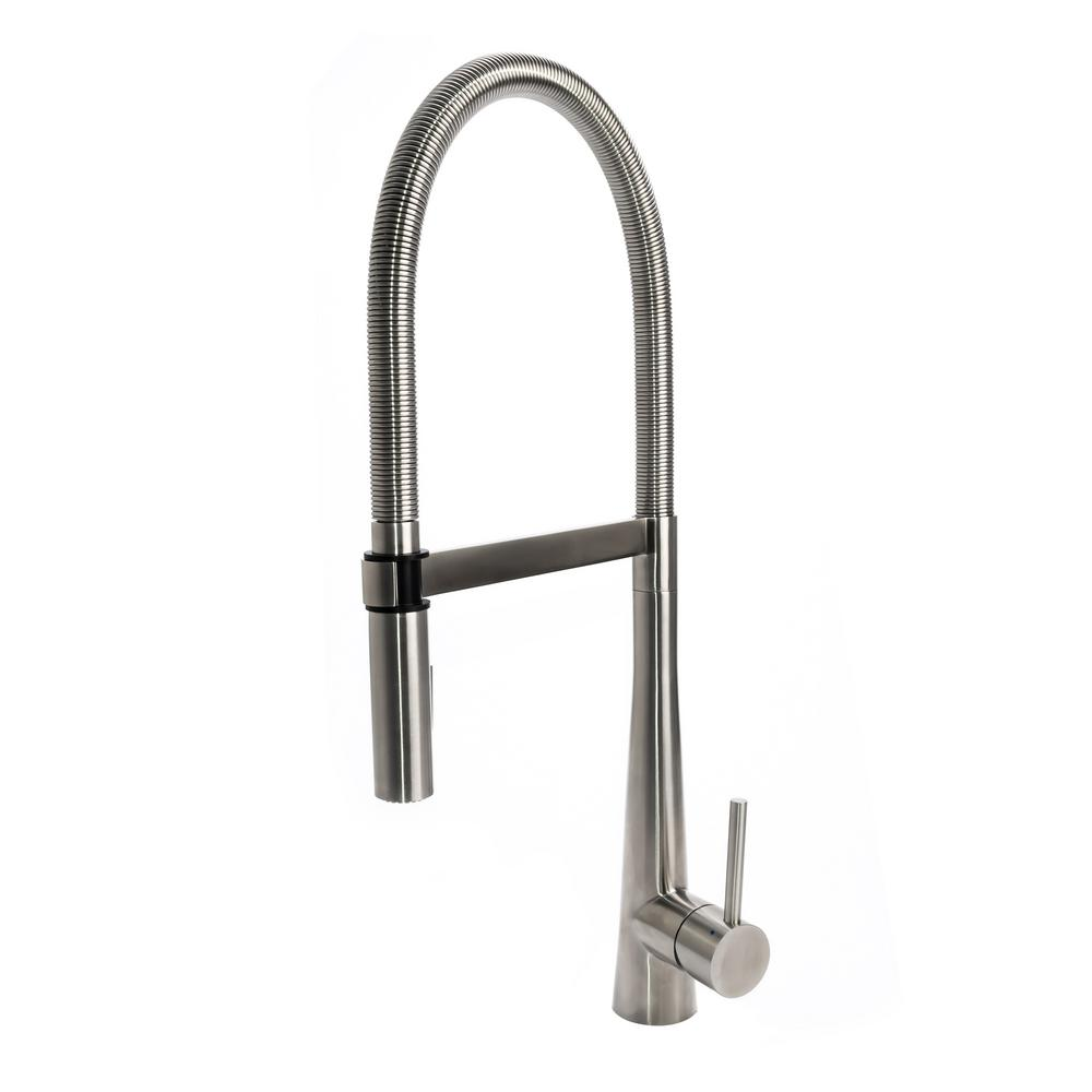 Single-Hole Single-Handle Gourmet Spring Coil Pull-Out Sprayer Kitchen  Faucet with Metal Sprayer in Real Stainless Steel