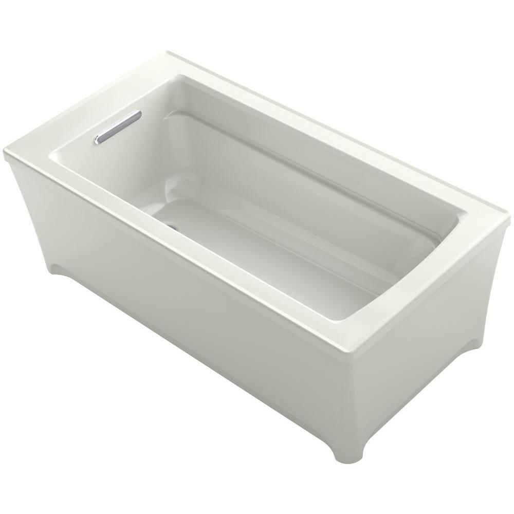 KOHLER Archer 5 ft. Acrylic Flat Bottom Non-Whirlpool Bathtub in Dune
