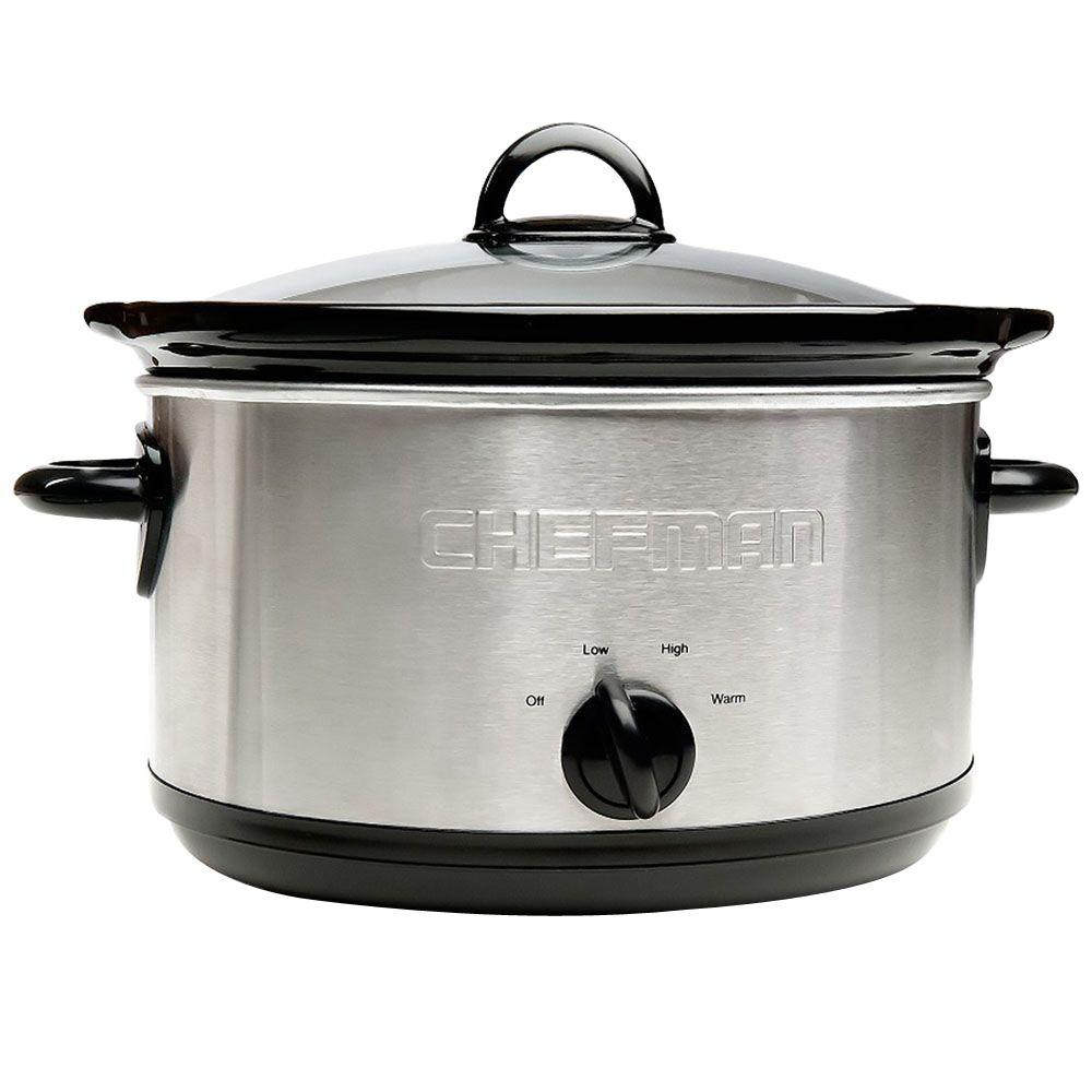 Chefman Slow Cooker with Removable 6 Qt. Stoneware Crock in Stainless Steel/Black