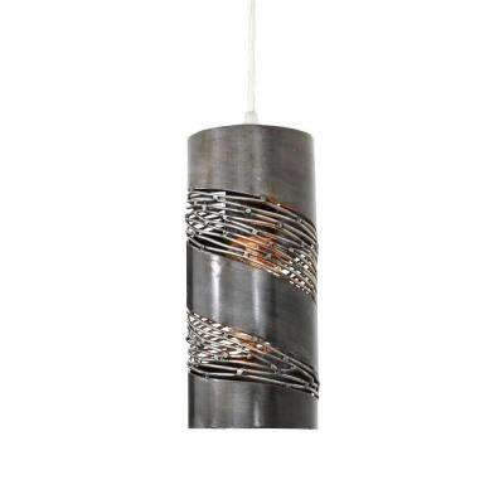 Flow 1-Light Steel Cylinder Mini Pendant