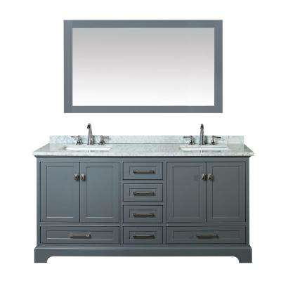 Newport 72 in. W x 22 in. D Vanity in Gray with Marble Vanity Top in Carrara White and Mirror
