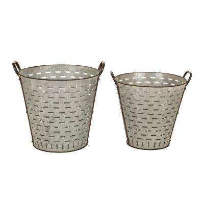 S/2 16.93 in. H Galvanized Metal Planters
