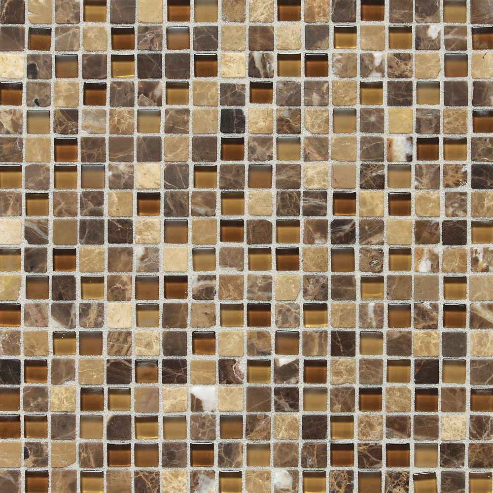 Daltile Stone Radiance Butternut Emperador 12 in. x 12 in. x 8 mm Glass and Stone Mosaic Blend Wall Tile
