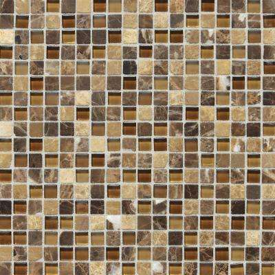 Stone Radiance Butternut Emperador 12 in. x 12 in. x 8 mm Glass and Stone Mosaic Blend Wall Tile (1 sq. ft. / piece)