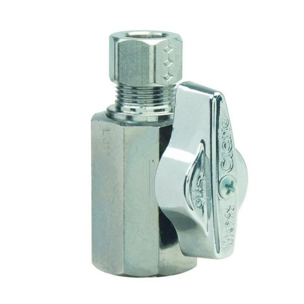 1/2 in. FIP Inlet x 3/8 in. Comp Outlet 1/4-Turn Straight Ball Valve