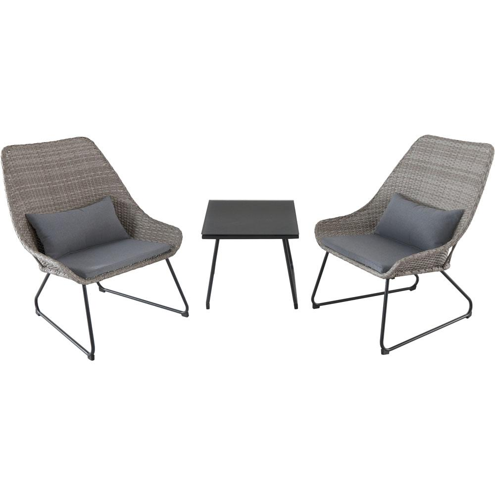 Montauk 3-Piece Wicker Patio Seating Set with Gray Cushions