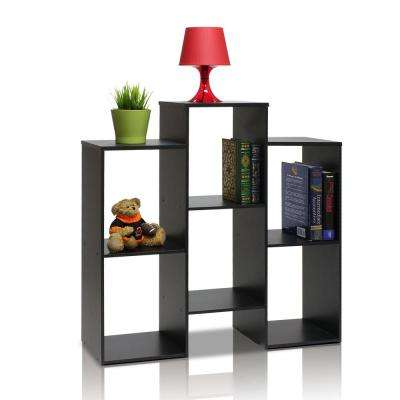 Parsons 6-Shelf Black Bookcase with open shelves