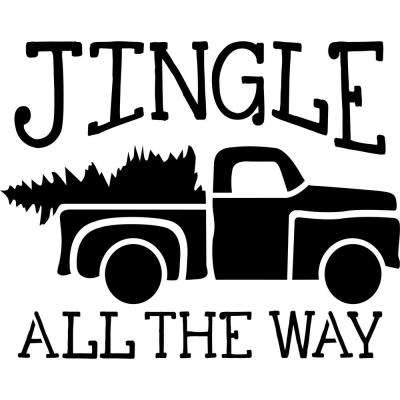 "Beige, Semi and Transparent ""Jingle All The Way"" Truck with Tree Stencil"