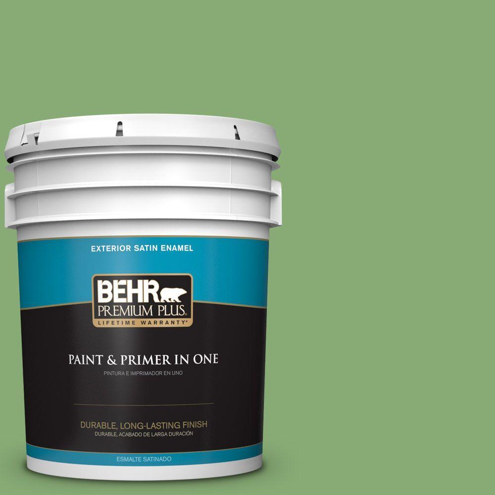 BEHR Premium Plus 5-gal. #440D-5 Pesto Satin Enamel Exterior Paint