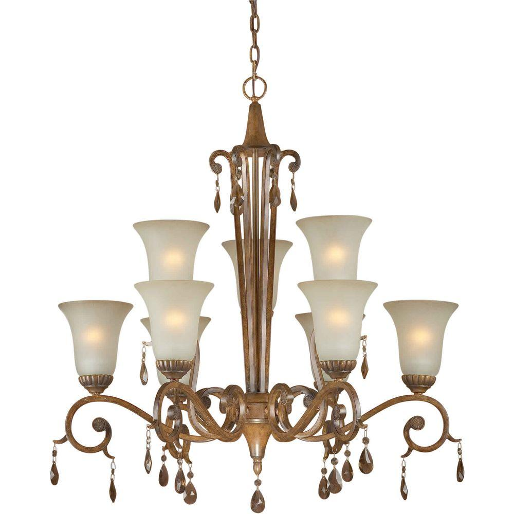 Talista 9-Light Rustic Sienna Bronze Chandelier with Shaded Umber Glass