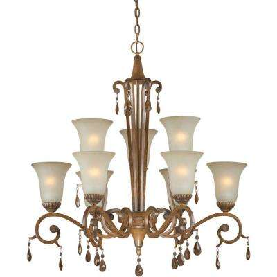 9-Light Rustic Sienna Bronze Chandelier with Shaded Umber Glass