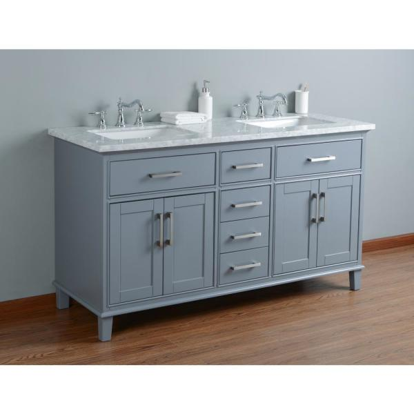 Stufurhome 60 In Leigh Double Sink Bathroom Vanity In Grey With Carrara Marble Vanity Top In White With White Basin Hd 1475g 60 Cr The Home Depot